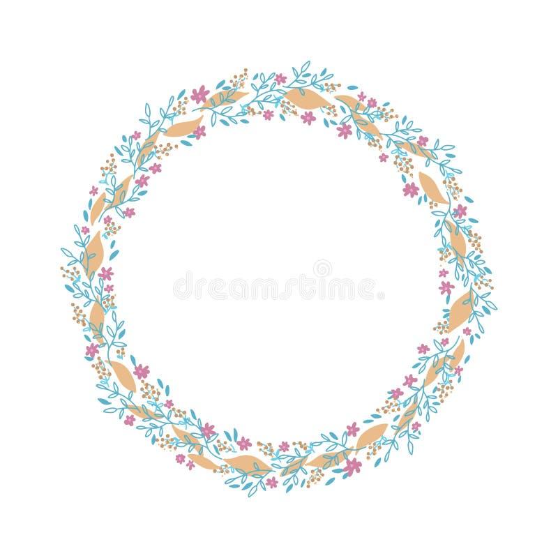 Grinalda tirada m?o do vetor Elemento floral do projeto do quadro do círculo para convites, cartões, cartazes, blogues Ramos deli ilustração royalty free