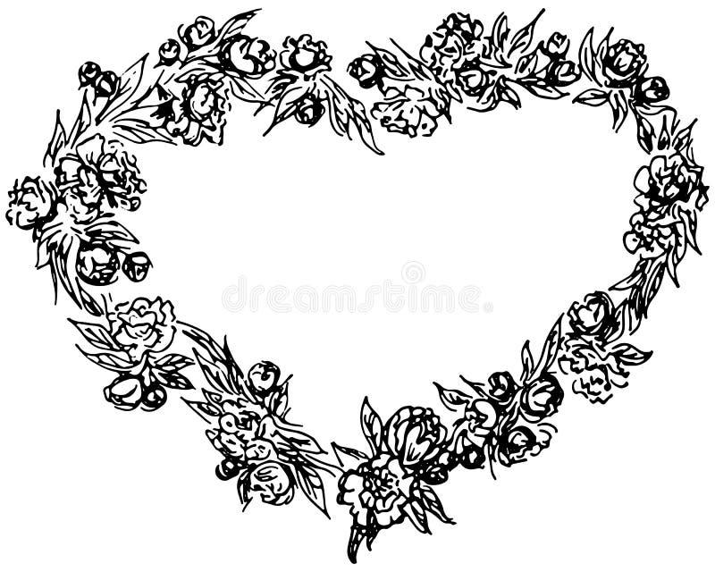 Grinalda tirada m?o no formul?rio do cora??o Elementos florais do projeto do quadro do c?rculo para convites, cart?es, cartazes,  ilustração do vetor