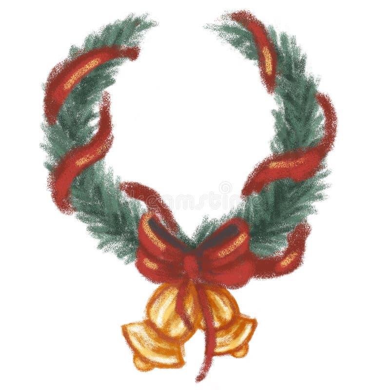 Grinalda verde do abeto vermelho do Natal com uma curva e um sino vermelhos O elemento é isolado em um fundo branco Ano novo ilustração royalty free