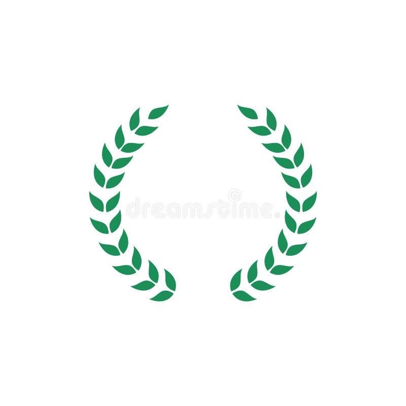 Grinalda verde do louro com grupo do ramo separado e da folha, ícone liso do símbolo da concessão para a honra do campeão ilustração royalty free