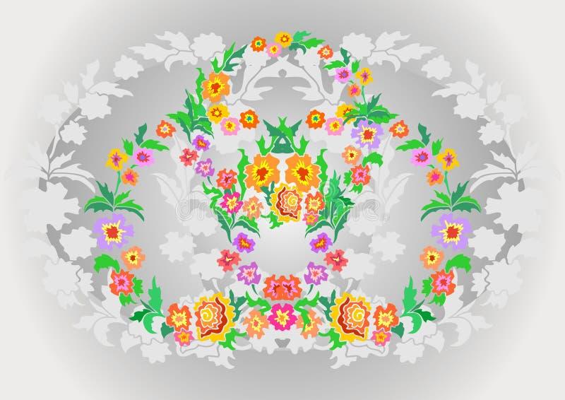 Grinaldas das flores abstratas no fundo floral ilustração stock
