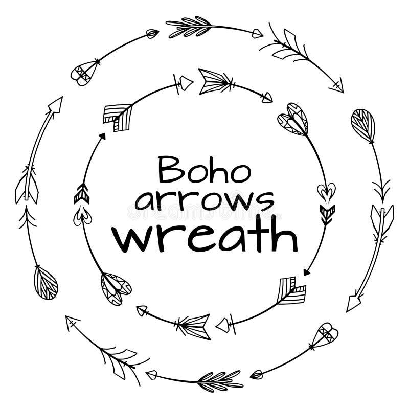 Grinaldas de setas tiradas mão Elementos tribais da garatuja ilustração royalty free