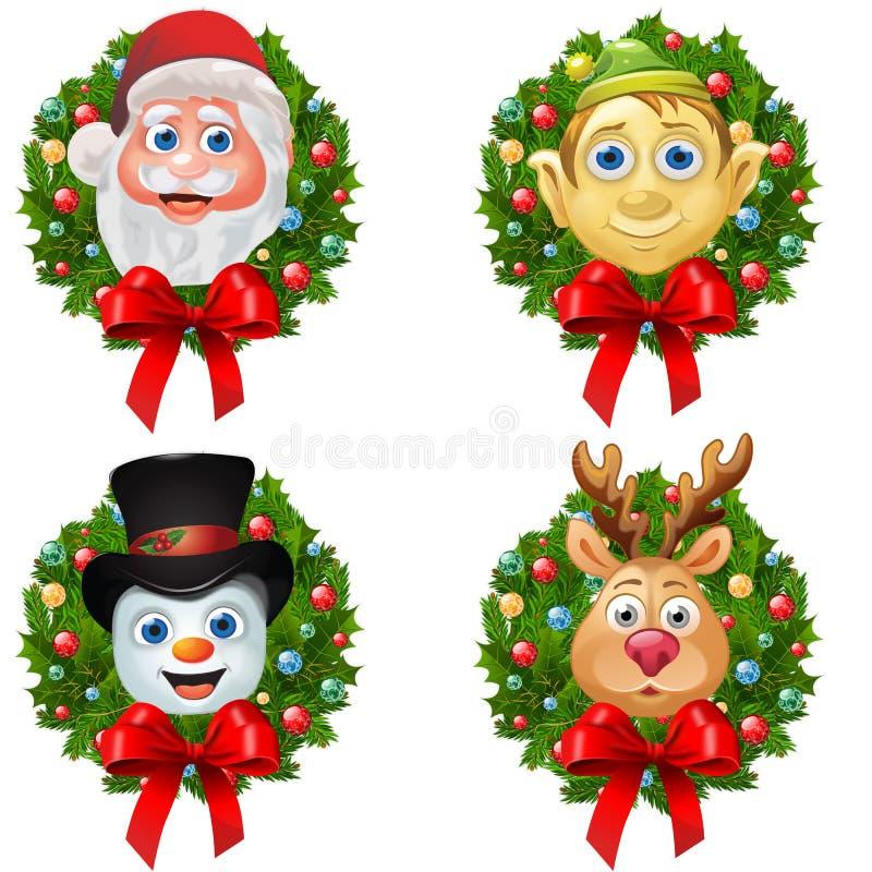 Grinaldas do caráter do Natal ilustração do vetor
