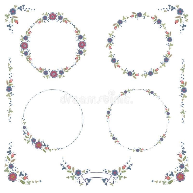 Grinaldas, elementos de canto da decora??o e um ornamento das flores e das folhas Ajuste do colorÑŽ do vetor ilustração royalty free