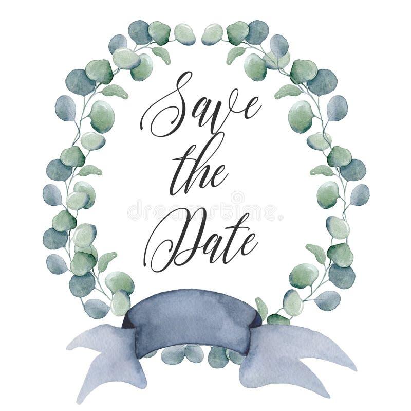 Grinaldas florais da aquarela com a fita para seu texto Bandeira floral Convite do casamento ilustração royalty free