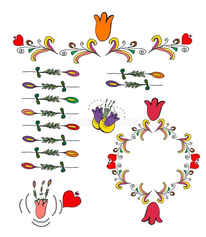 Grinaldas florais do vetor e elementos da garatuja, ilustração, decoração foto de stock