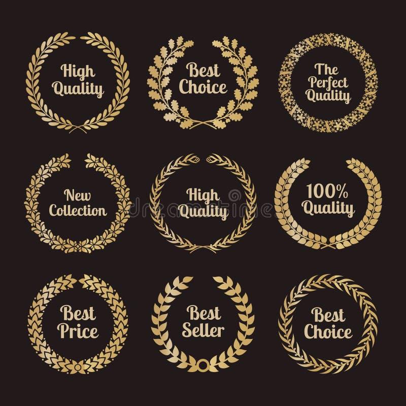 Grinaldas superiores do louro da qualidade no estilo retro ilustração royalty free