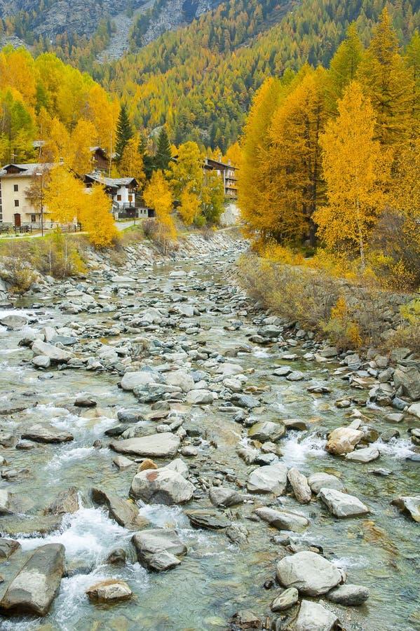 Grincement de montagne en automne, parc national de Paradiso de mamie, Italie photo stock