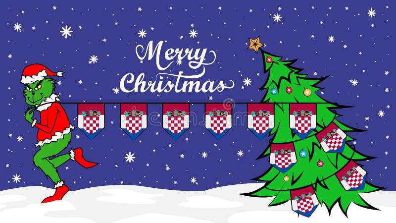Grinch窃取克罗地亚例证国旗  在圣诞节海报的绿色残暴的人 皇族释放例证
