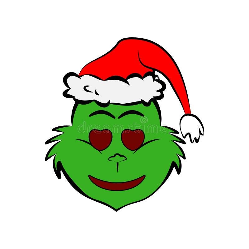 Grinch στη θλίψη σε ένα κρύο εικονίδιο emoji ιδρώτα διανυσματική απεικόνιση