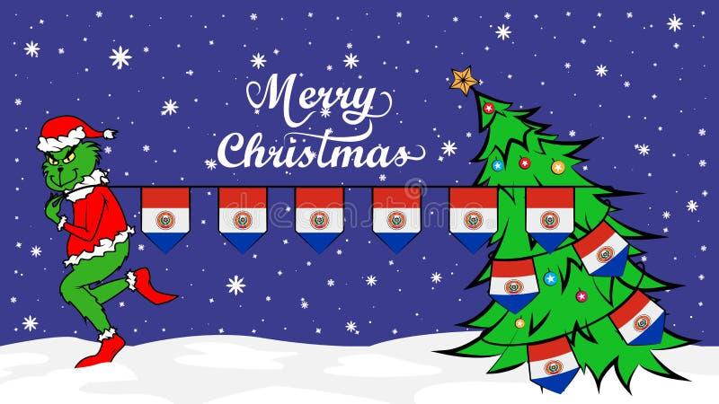 Grinch крадет национальный флаг иллюстрации Парагвая Зеленый людоед в плакате рождества иллюстрация вектора