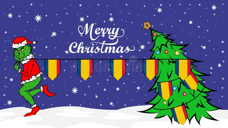 Grinch крадет национальный флаг иллюстрации Румынии Зеленый людоед в плакате рождества бесплатная иллюстрация