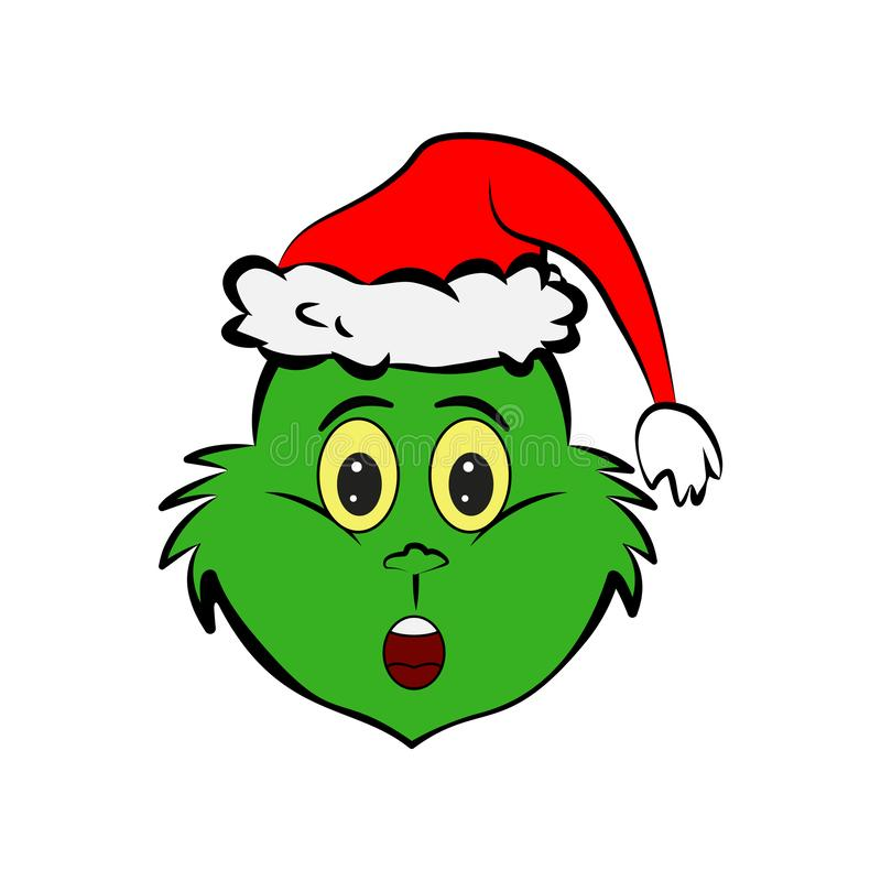 Grinch in betrokken over emojipictogram stock illustratie