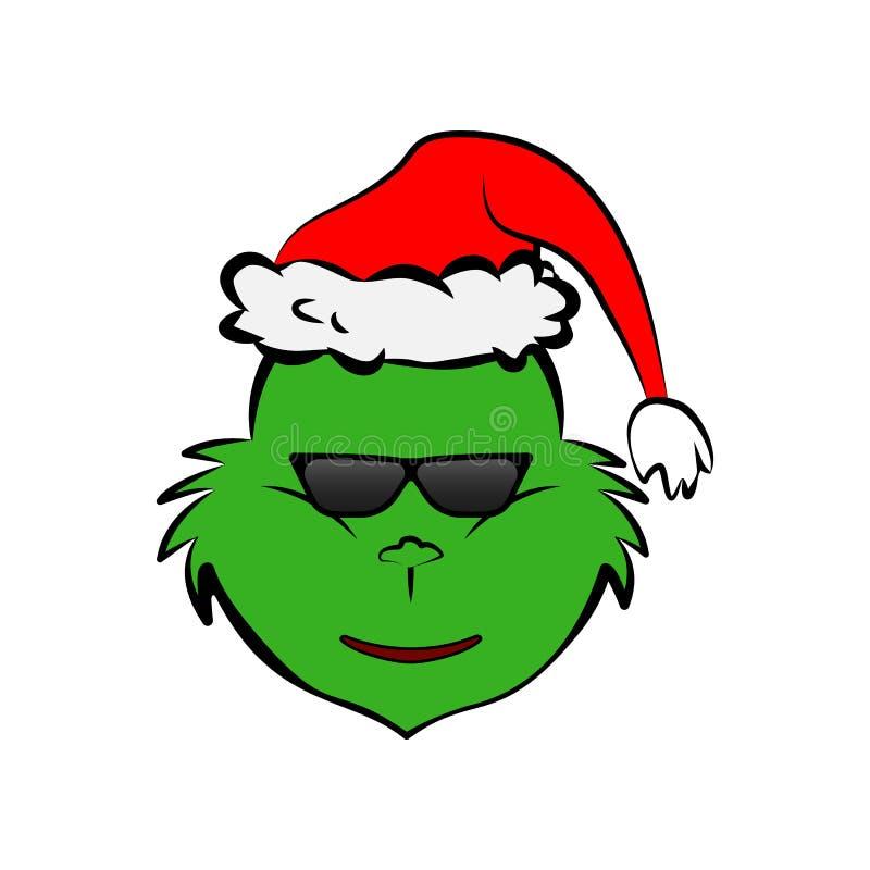 Grinch en fresco en icono del emoji de las gafas de sol ilustración del vector