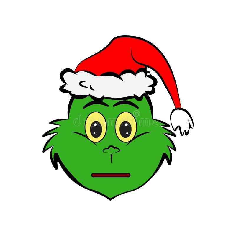 Grinch en icono del emoji de la indiferencia stock de ilustración