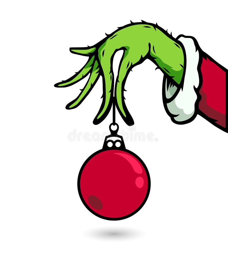 Grinch Hand With Orament Christmas illustration stock