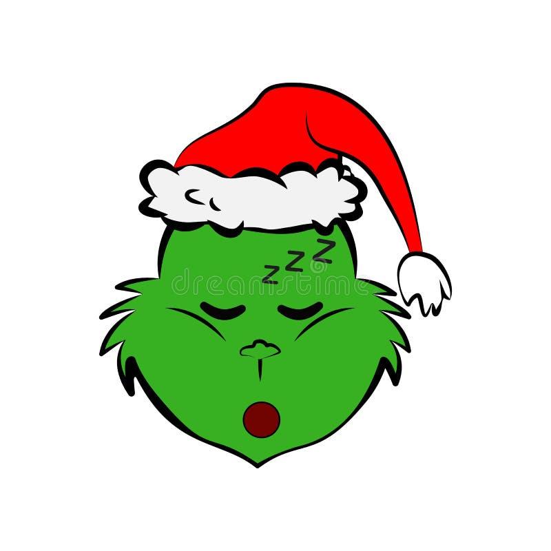 Grinch i sovande emojisymbol royaltyfri illustrationer
