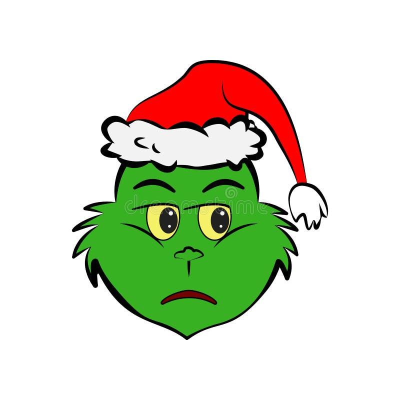 Grinch in neutral emoji icon. On white background royalty free illustration