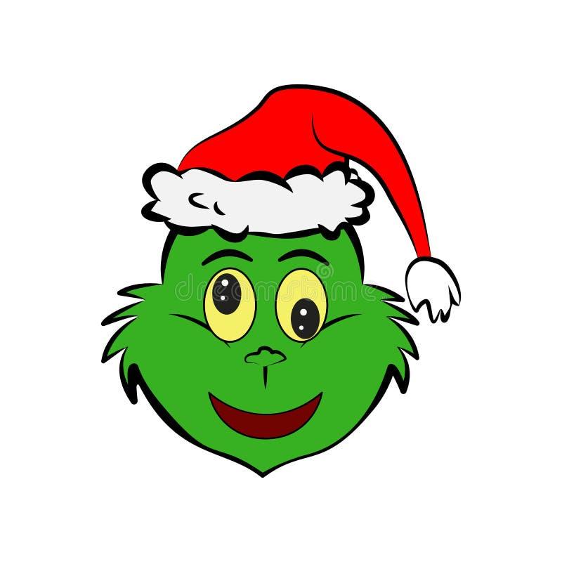 Grinch no ícone do emoji do aborrecimento ilustração stock