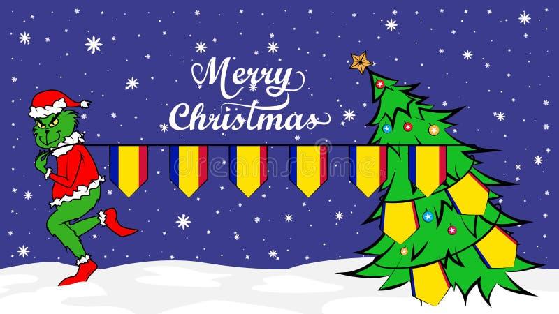 Grinch roba la bandera nacional del ejemplo de Andorra Ogro verde en cartel de la Navidad ilustración del vector
