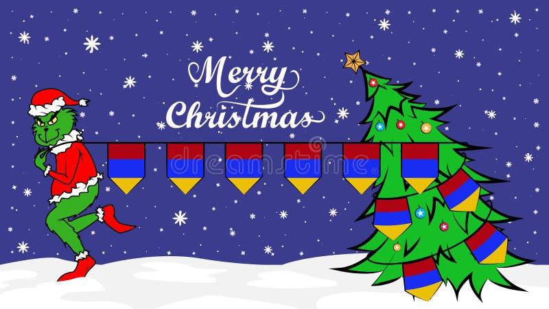 Grinch rouba a bandeira nacional da ilustração de Armênia Ogre verde no cartaz do Natal ilustração do vetor