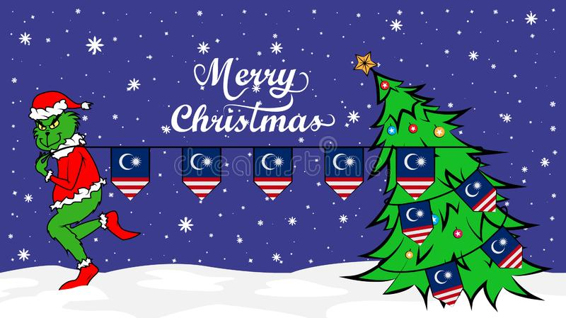 Grinch steals national flag of Malaysia illustration. Green Ogre in Christmas poster vector illustration
