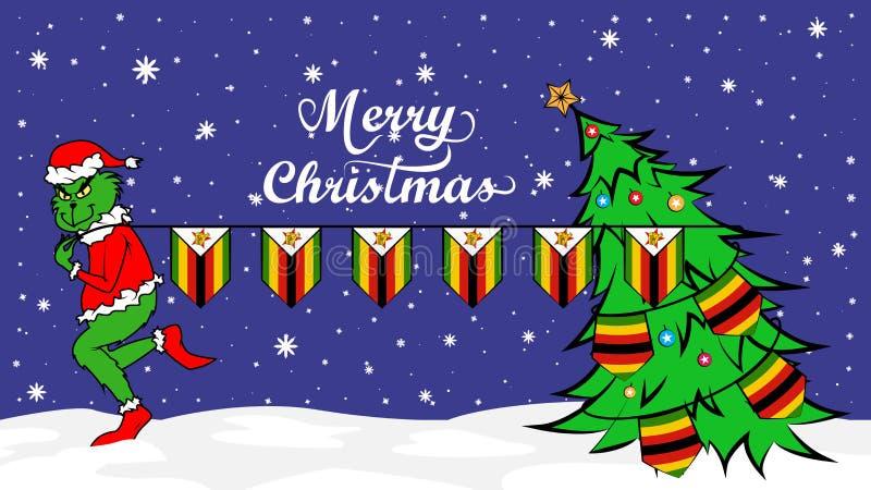 Grinch steals national flag of Zimbabwe illustration. Green Ogre in Christmas poster vector illustration