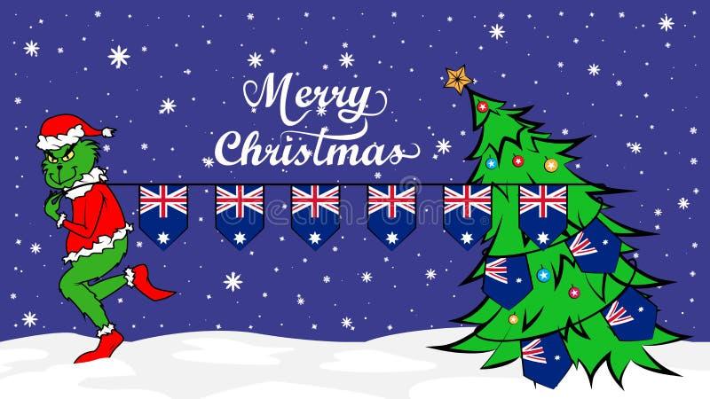 Grinch stjäler nationsflaggan av den Australien illustrationen Grön människoätande jätte i julaffisch stock illustrationer