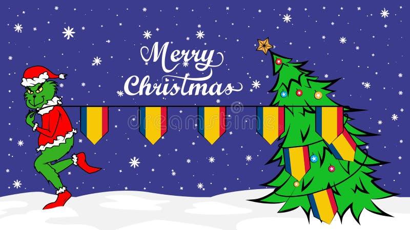 Grinch stjäler nationsflaggan av den Rumänien illustrationen Grön människoätande jätte i julaffisch royaltyfri illustrationer