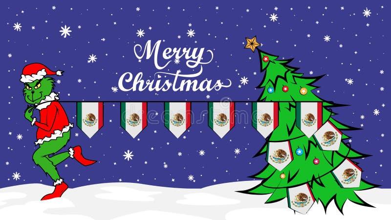 Grinch vole le drapeau national de l'illustration du Mexique Ogre vert en affiche de Noël illustration de vecteur