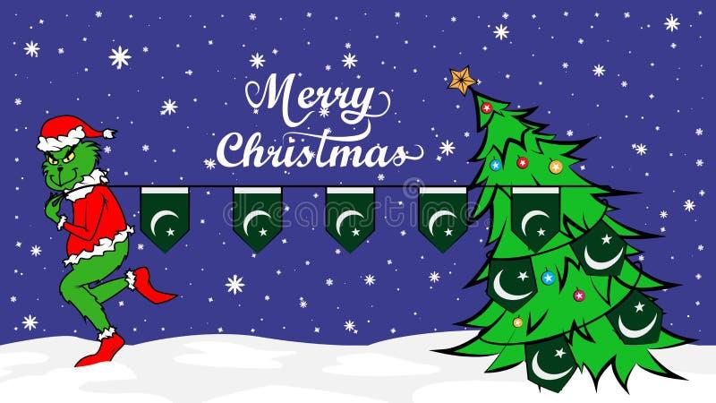 Grinch vole le drapeau national de l'illustration du Pakistan Ogre vert en affiche de Noël illustration stock