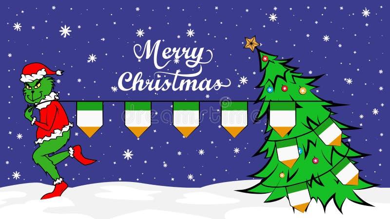 Grinch vole le drapeau national de l'illustration de la Côte d'Ivoire Ogre vert en affiche de Noël illustration libre de droits