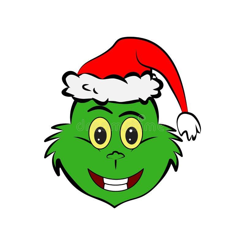 Grinch w uśmiechu emoji ikonie ilustracja wektor