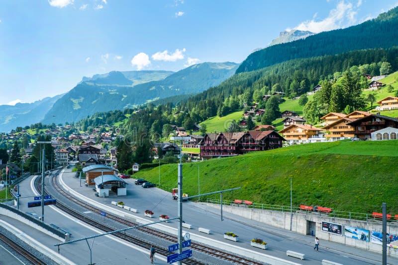 Grindelwald-Dorf stockfotografie