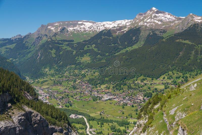 Grindelwald från Mattenberg i Schweiz fotografering för bildbyråer