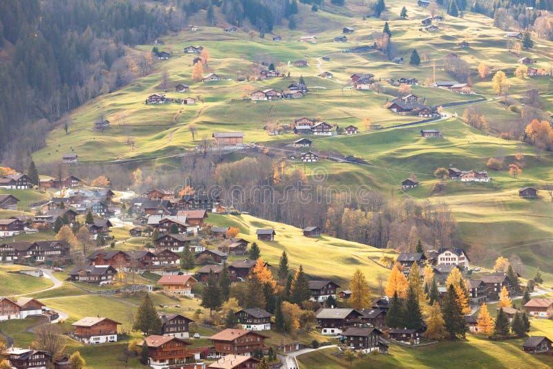 Grindelwald Suiza en tiempo de la puesta del sol foto de archivo libre de regalías