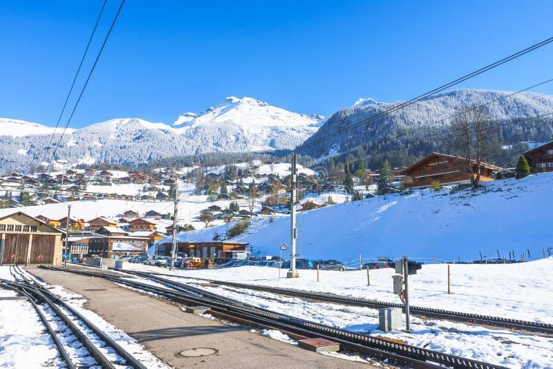 Grindelwald Szwajcaria, Kwiecień, - 29, 2017: Reeti jest mounta fotografia royalty free