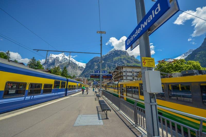Grindelwald train station, Switzerland royaltyfria foton