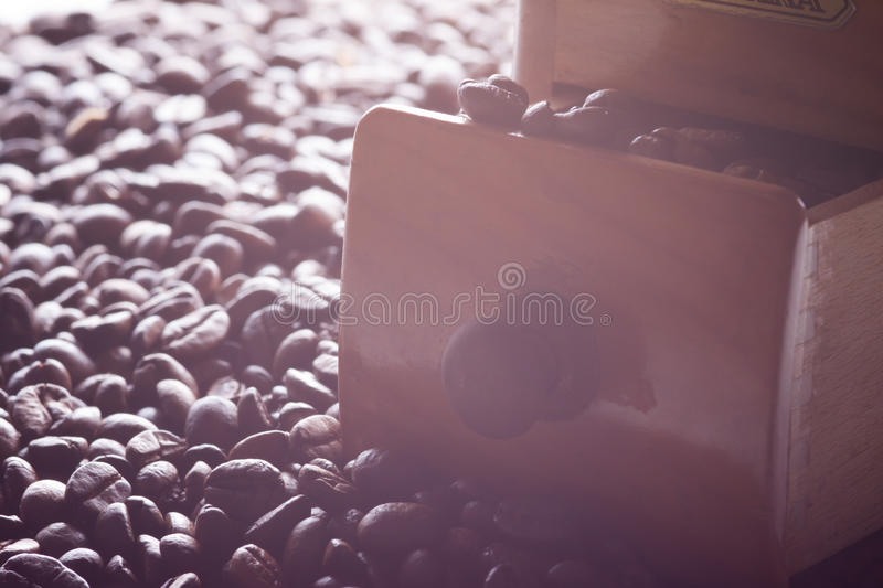 Grinder and coffee beans. In backlight stock photo