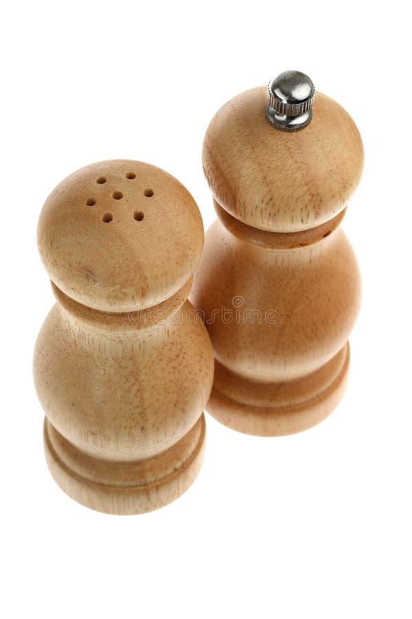grinder gjort salt shakerträ för peppar royaltyfria foton