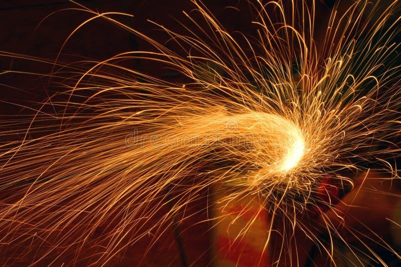 Grinder sparks stock image
