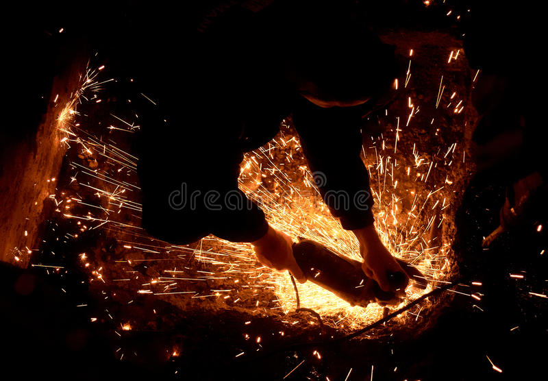 Grinding and cutting royalty free stock images