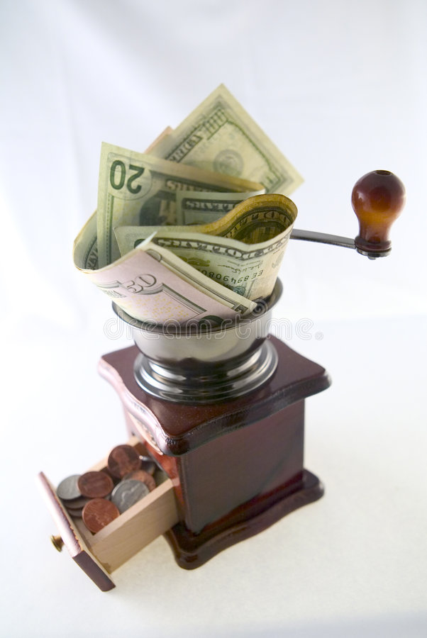 Grinding Dollars Into Cents Stock Photos