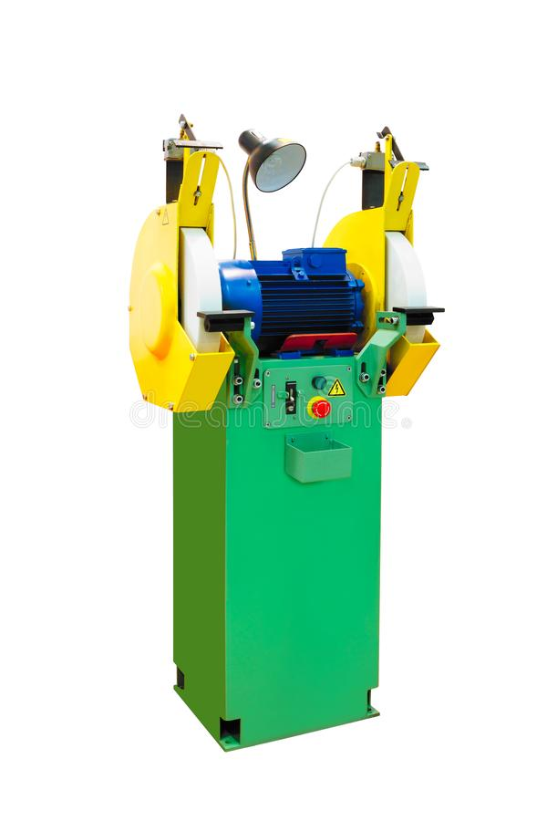Grinding machine professional industrial stationary bench grinder isolated on white background.  stock photos