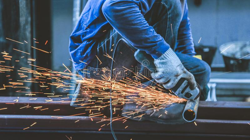 Grinding steel and Steel welding royalty free stock photography