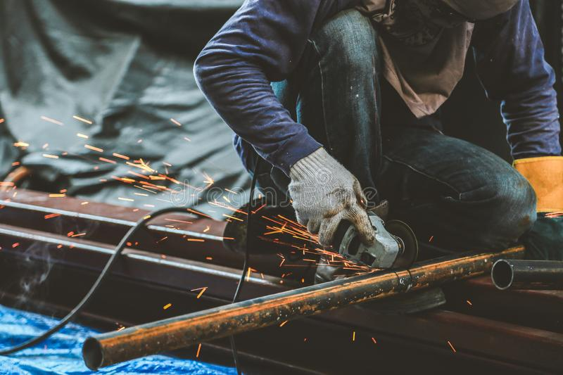 Grinding steel and Steel welding royalty free stock photos