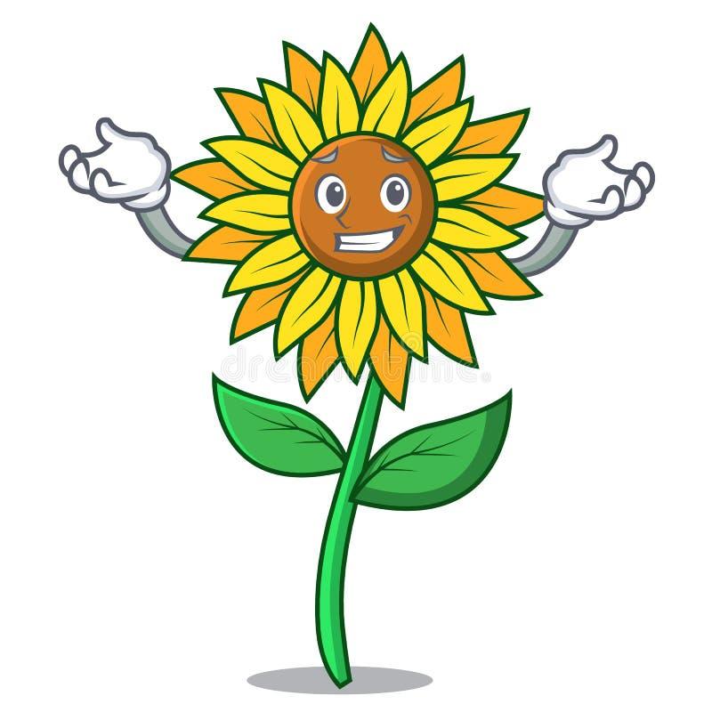 Grinning стиль шаржа характера солнцецвета иллюстрация штока