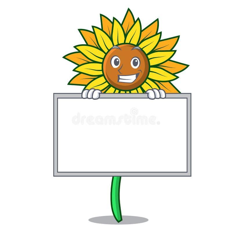 Grinning с стилем шаржа характера солнцецвета доски иллюстрация вектора