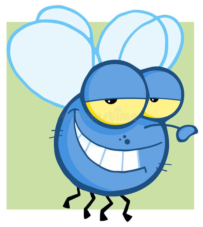 Grinning blue fly royalty free illustration