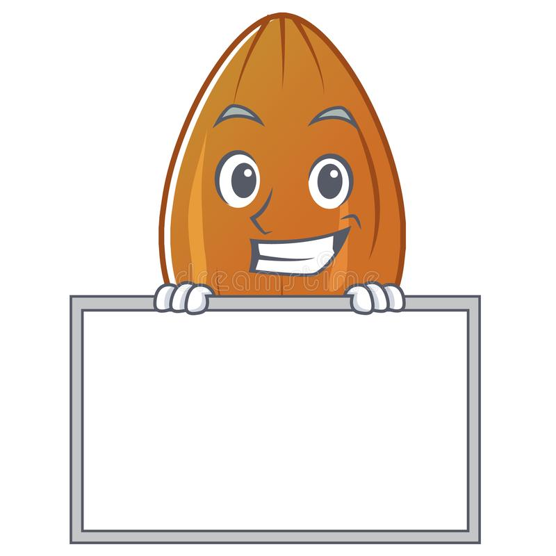 Grinning with board almond nut character cartoon. Vector illustration royalty free illustration